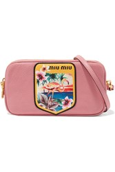 Miu Miu Printed Textured Leather Camera Bag Pink