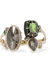Alexis Bittar Gold Plated Crystal Enamel And Stone Cuff One Size