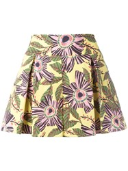 Red Valentino Floral Print Shorts Red