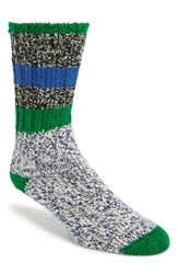 Woolrich 'Rugby Stripe' Merino Wool Blend Socks Black