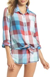 Make Model Tie Front Sleep Shirt Blue Azul Mandy Madras