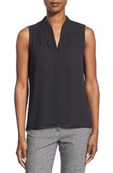 T Tahari 'Edie' Pleat V Neck Blouse Black