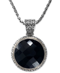 Effy Collection Balissima By Effy Onyx Circle Pendant Necklace 35 1 5 Ct. T.W. In Sterling Silver And 18K Gold