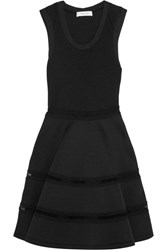 Carven Lace Trimmed Neoprene And Ribbed Knit Mini Dress Black