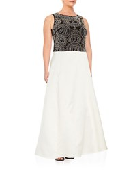 Xscape Evenings Plus Embellished Top And Skirt Set Ivory Black