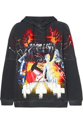 R 13 R13 Oversized Printed Cotton Blend Jersey Hoodie Black
