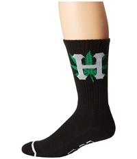 Huf H Town Crew Sock Black Crew Cut Socks Shoes