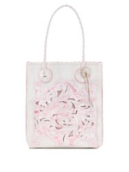 Patricia Nash Floral Embossed Leather Tote White Pink