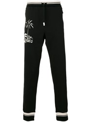 Dolce And Gabbana Car Palm Tree Patch Track Pants Black