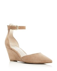 Kenneth Cole Emery Suede Pointed Toe Ankle Strap Wedge Pumps Cafe