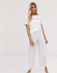 Adolescent Clothing Pillow Talk T Shirt And Trousers Pyjama Set White