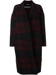 Rochas Plaid Cocoon Coat Black