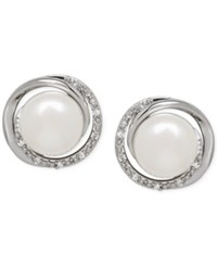 Macy's Freshwater Pearl 7Mm And Diamond Accent Swirl Stud Earrings In Sterling Silver