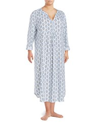 Carole Hochman Plus Floral Cotton Nightgown Blue