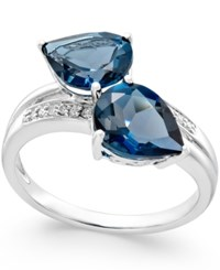 Macy's London Blue Topaz 4 Ct. T.W. And Diamond Accent Statement Ring In 14K White Gold