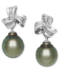 Macy's Sterling Silver Earrings Cultured Tahitian Pearl 9Mm And Diamond Accent Bow Drop Earrings