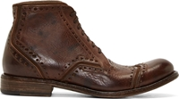 Dolce And Gabbana Brown Worn Leather Brogue Boots