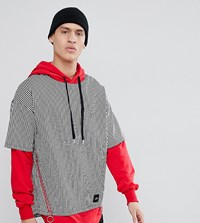 Sixth June Hoodie With Shirt Overlay Exclusive To Asos Black