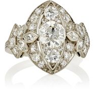 Stephanie Levy Women's White Diamond And Platinum Ring Colorless