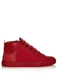 Balenciaga Arena Leather High Top Trainers Red