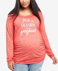 Motherhood Maternity Plus Size Holiday Graphic T Shirt Red