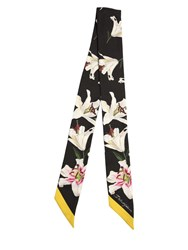Dolce And Gabbana Small Lily Print Silk Scarf Gigli Nero