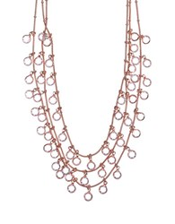 Anne Klein Rose Goldtone And Crystal Multi Row Necklace