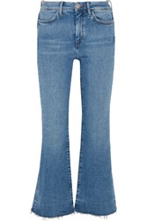 Mih Jeans M.I.H Lou Frayed High Rise Flared Blue