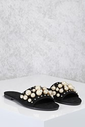 Forever 21 Faux Pearl Slide Sandals Black
