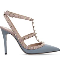 Valentino Rockstud 100 Patent Leather Courts Grey Light