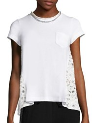 Sacai Pearl Lace Back Pocket Tee White