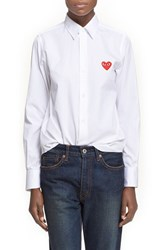 Women's Comme Des Garcons Heart Graphic Woven Cotton Shirt