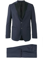 Tonello Contrast Lapel Suit Blue
