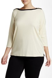 Lauren Ralph Lauren Button Shoulder Boatneck Neck Shirt Plus Size