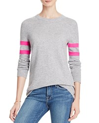 Aqua Cashmere Varsity Stripe Cashmere Sweater Light Grey Neon Pink