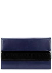 Lanvin Navy Lizard And Leather Clutch
