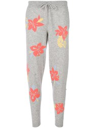 Chinti And Parker Hibiscus Knot Stitch Track Pants Grey