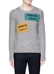 Acne Studios 'Peele' Applique Wool Cashmere Sweater Grey