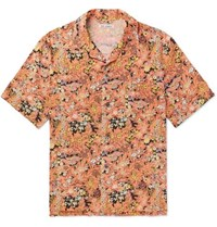 Our Legacy Camp Collar Printed Voile Shirt Orange