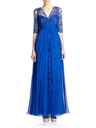 Teri Jon By Rickie Freeman Lace And Silk Chiffon Gown Dark Blue