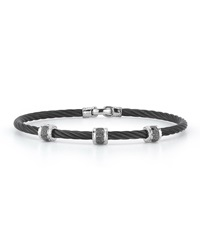 Alor Black Stainless Steel And Diamond Cable Bracelet 0.16Tcw