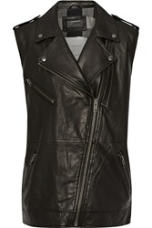 Current Elliott The Moto Infantry Leather Vest Black