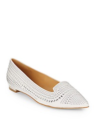 Enzo Angiolini Ayaki Studded Point Toe Flats White