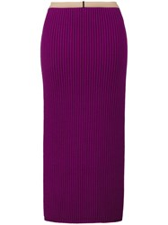 Calvin Klein 205W39nyc Ribbed Bodycon Mid Length Skirt Silk Polyamide Spandex Elastane Wool Xs Pink Purple