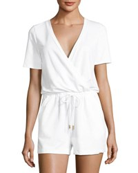 Athena Caley Jersey Drawstring Romper White