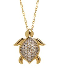 Lord And Taylor Diamond And 14K Yellow Gold Turtle Pendant Necklace