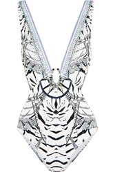 Camilla Cutout Embellished Printed Swimsuit Gray