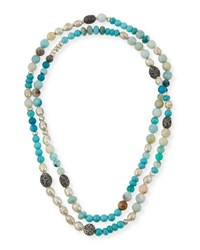 Hipchik Liza Long Beaded Turquoise Necklace Multi