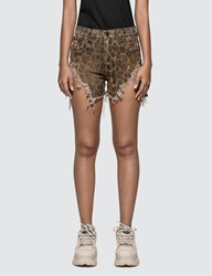R 13 R13 Shredded Slouch Short Brown