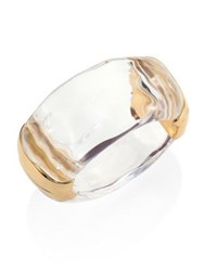 Alexis Bittar Lucite Clear Bangle Gold Clear